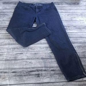 VS Kiss Dark Wash Ankle Zipper Skinny Jeans